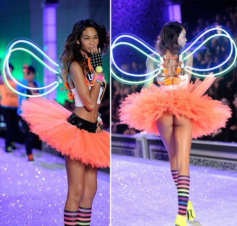 Chanel Iman Victoria s Secret 2011 Fashion Show wings