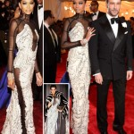 Chanel Iman in Tom Ford black and white dress Met Gala 2012