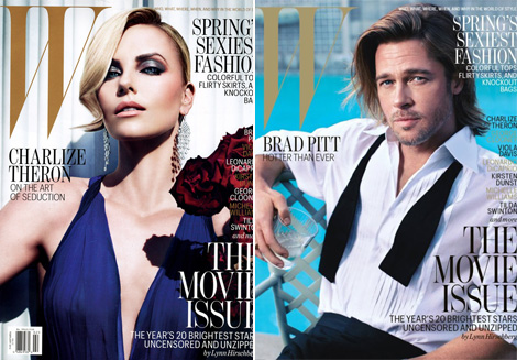 Charlize Theron Brad Pitt cover W magazine February 2012