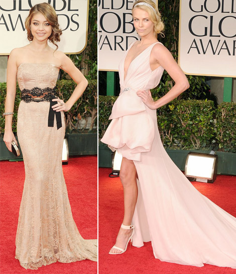 Charlize Theron Sarah Hyland pale dresses 2012 Golden Globes