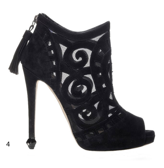 Chrissie Morris suede lace peep toe ankle boots