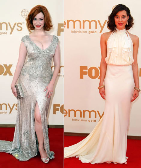 Christina Hendricks Aubrey Plaza 2011 Emmy Awards