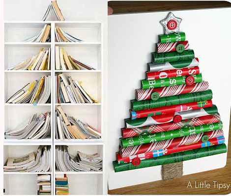 Christmas trees made of books and paper