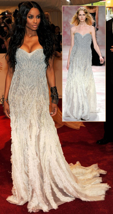 Ciara crystal leaves Prabal Gurung dress Met Gala 2011