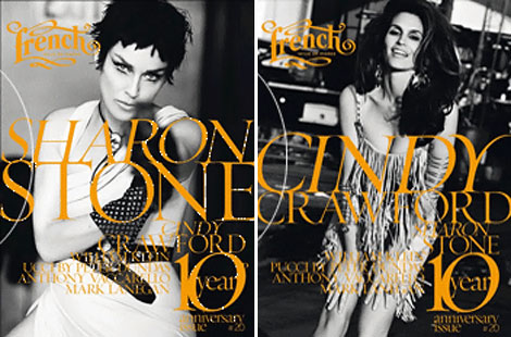 Cindy Crawford Sharon Stone cover French Revue de Mode anniversary issue
