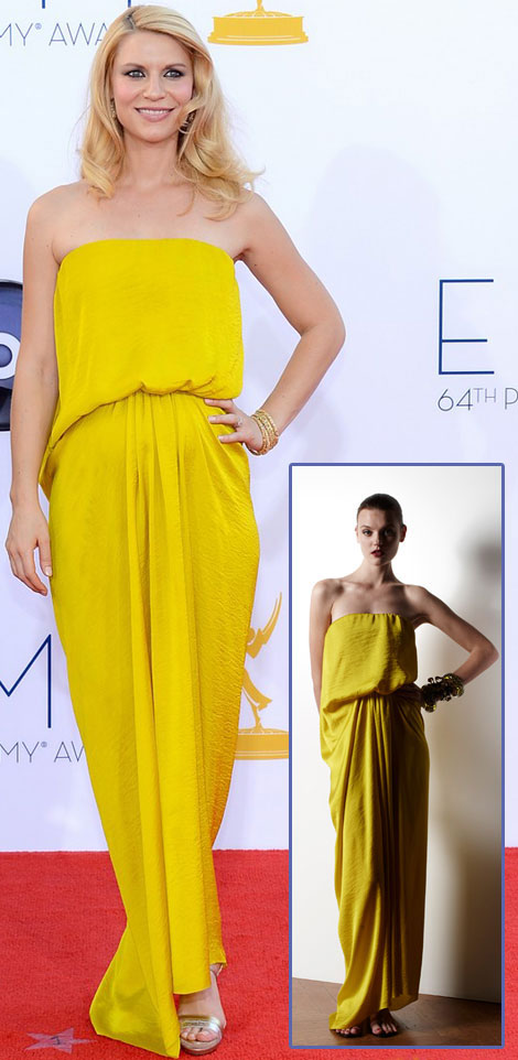 Claire Danes baby bump Lanvin Yellow Dress 2012 Emmy Awards