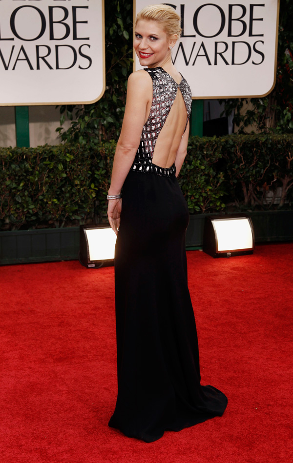 Claire Danes open back dress 2012 Golden Globes
