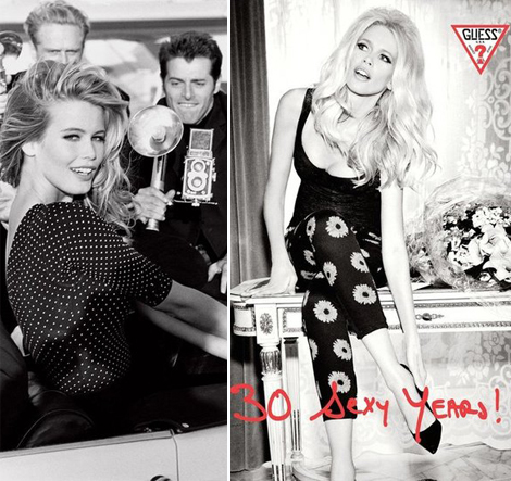 Claudia Schiffer Guess Ad Campaign 2012 and 1989