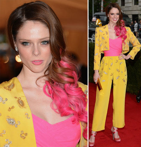 Coco Rocha's Vintage Givenchy Suit, Pink Hair For Met Gala 2012
