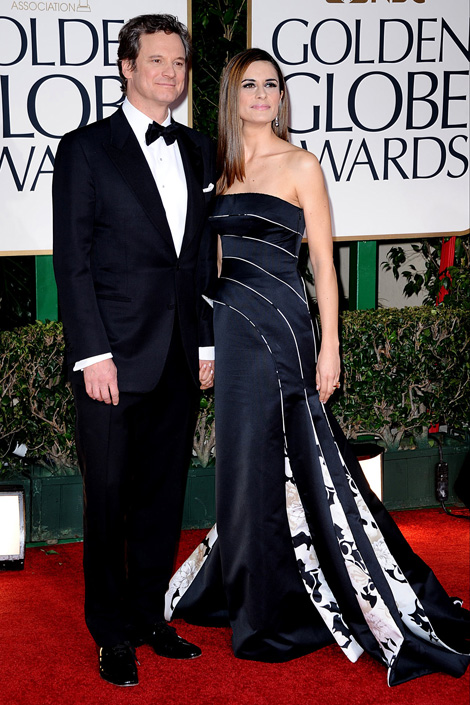 Colin Firth with wife Livia in black dress 2012 Golden Globes