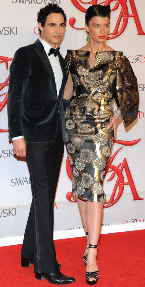 Crystal Renn dark hair CFDA with Zac Posen