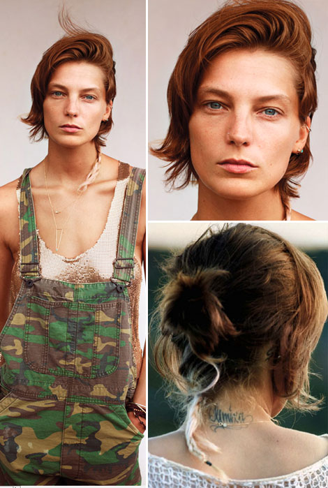 Daria Werbowy s new haircut with rat tail