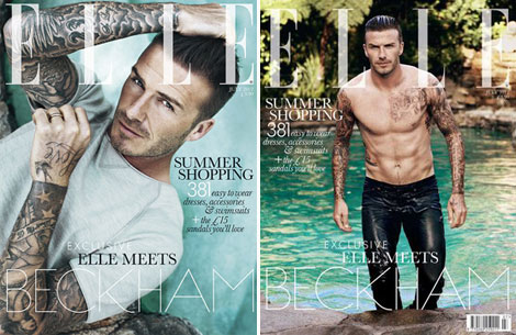 David Beckham Elle UK Magazine July 2012 covers