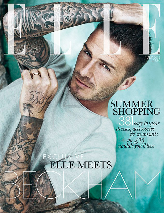 David Beckham Elle UK Magazine July 2012 subscribers cover