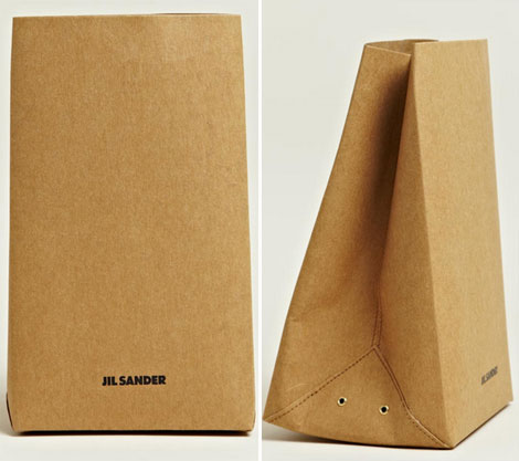 Designer Brown Paper bag by Jil Sander