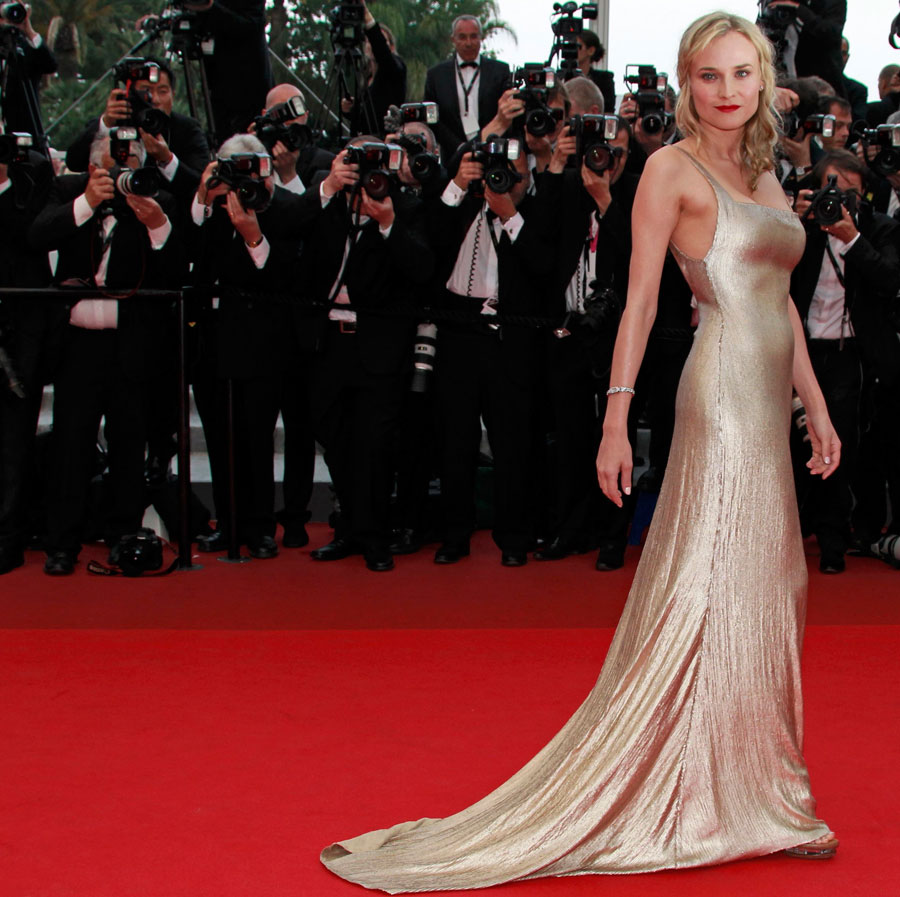 Diane Kruger  Calvin Klein golden dress Cannes 2011 1