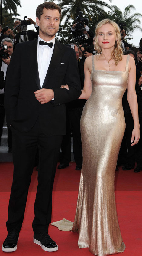 Diane Kruger Calvin Klein golden dress Cannes 2011 Joshua Jackson