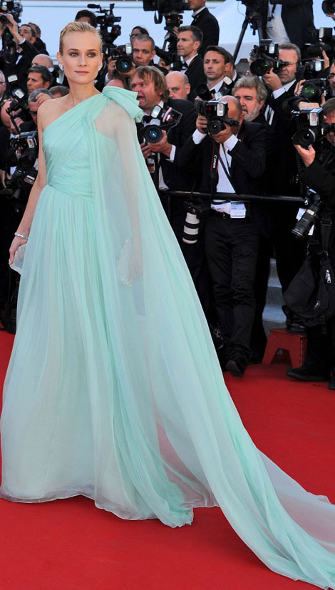Diane Kruger aqua cape dress Cannes 2012 opening ceremony