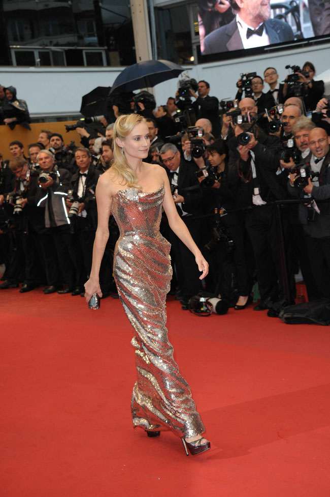 Diane Kruger golden sequined Vivienne Westwood dress Cannes