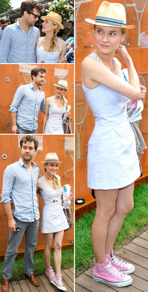 Diane Kruger Wears Pink Converse Sneakers. For French Open