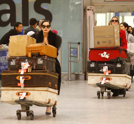 Dita Von Teese Travels Light. Not.