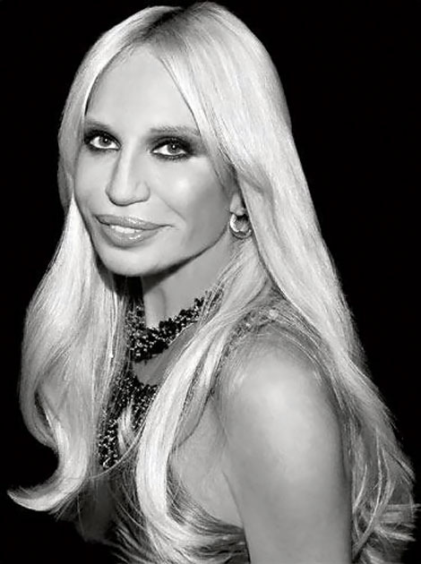 Donatella Versace black and white portrait