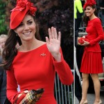 Duchess Catherine red McQueen dress and red hat for Jubilee