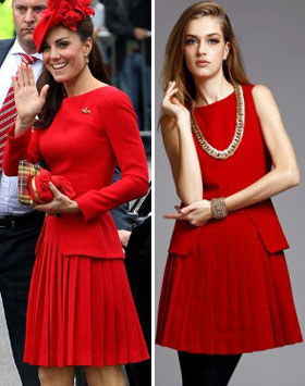Designer Look For Less: Duchess Catherine&#8217;s Red McQueen Lookalike Dress