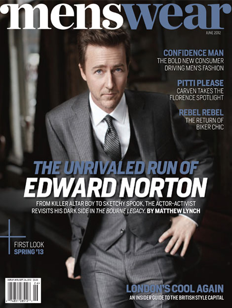 Edward Norton Menswear magazine cover
