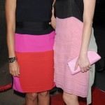 Elizabeth Banks Rashida Jones wear colorful dresses