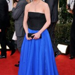 Elizabeth McGovern black and blue Jacques Azaguray dress Golden Globes