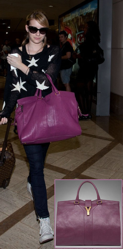 Emma Roberts' Bag: Yves Saint Laurent Chyc Large Magenta Bag