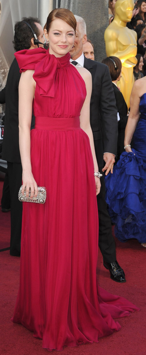 Emma Stone Giambattista Valli pink dress 2012 Oscars
