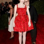 Emma Stone Lanvin red dress with Alber Elbaz Met Gala 2012