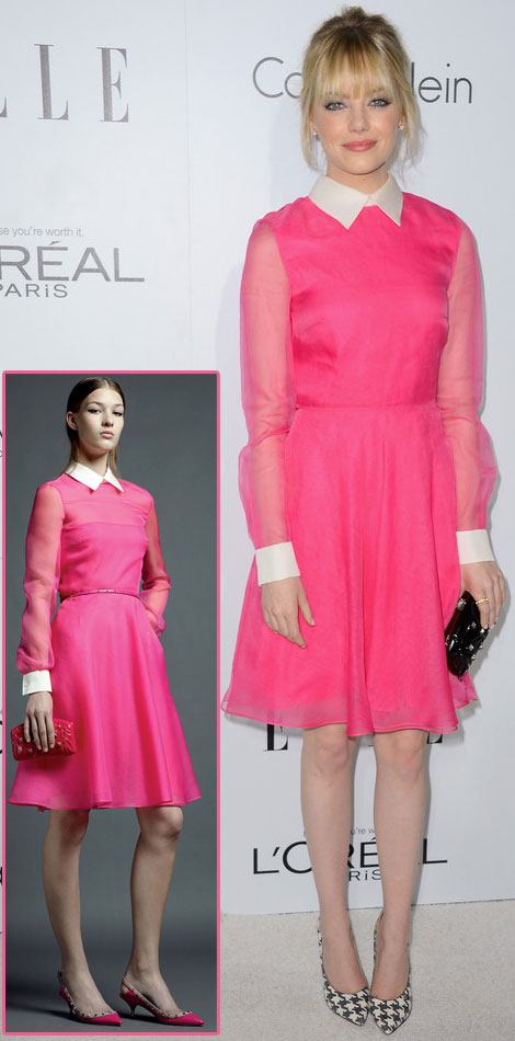 Emma Stone Valentino pink dress Elle Women in Hollywood gala