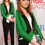 Emma Stone green Gucci pants suit People s Choice Awards 2012