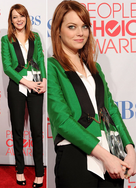 Emma Stone's Green Gucci Tux For 2012 People's Choice Awards