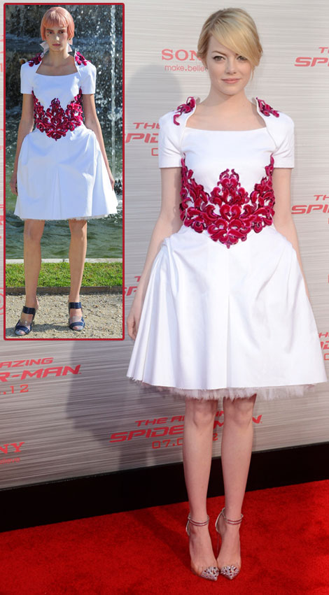 Emma Stone in Chanel Resort white dress Spider man premiere