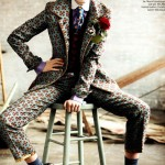 Emma Stone men suit for Vogue