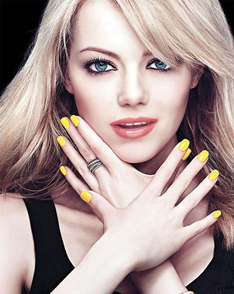 Emma Stone odd Revlon yellow nails polish ad