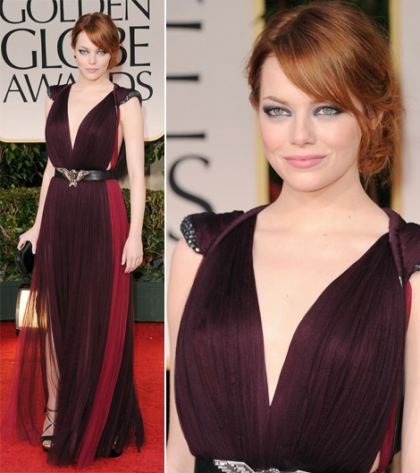 Emma Stone plum Lanvin dress 2012 Golden Globes
