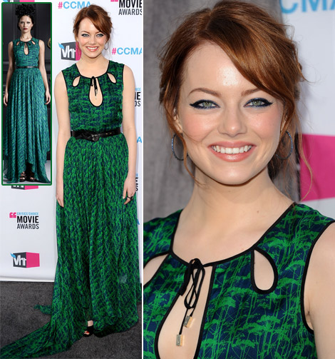 Emma Stone s Jason Wu green dress 2012 Critics Choice Awards