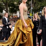 Emma Watson Bottega bronze dress