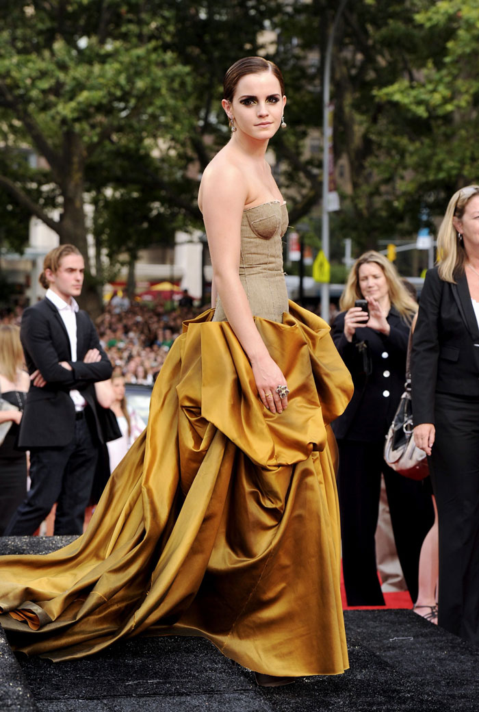 Emma Watson's Bronze Bottega Veneta Dress Harry Potter New York Premiere