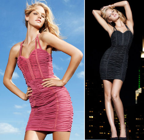 Erin Heatherton mini dress H and M by night