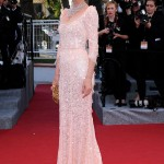 Eva Herzigova pale lace Dolce and Gabbana dress Cannes 2012 Red Carpet