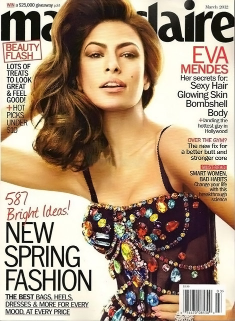 Eva Mendes Marie Claire US March 2012 cover Eva Mendes Covers Marie Claire US March 2012