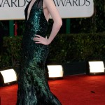 Evan Rachel Wood 2012 Golden Globes feathered green dress