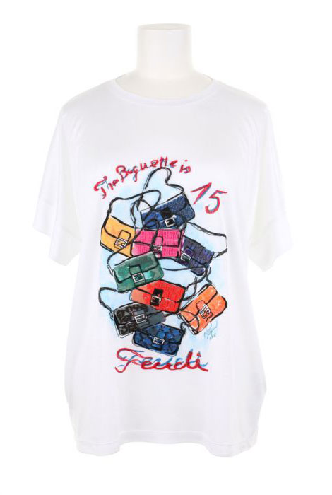 Fendi Baguette anniversary tee drawing by Karl Lagerfeld