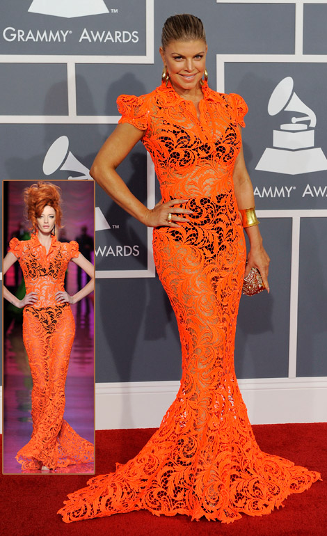 Fergie's Orange Lace Jean Paul Gaultier Dress For 2012 Grammy Awards